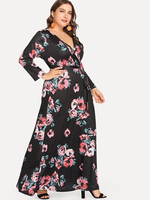 Plus Size Flower Print Long Sleeve Wrap Dress