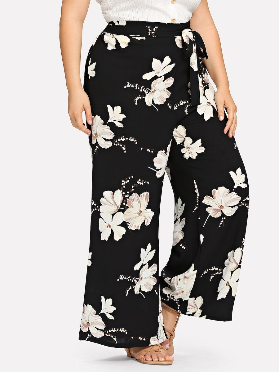 Plus Size Belted Floral Print Pants