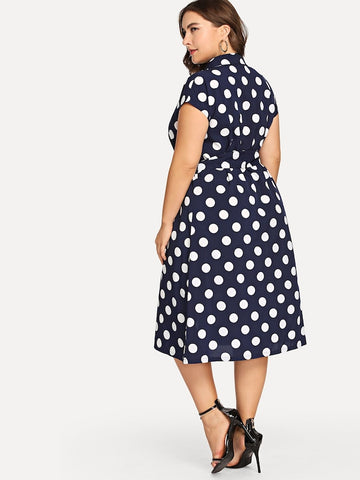 Plus Size Polka Dot Collar Dress