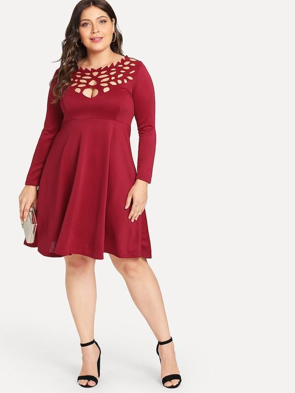 Plus Cutout Neck Fit And Flare Dress