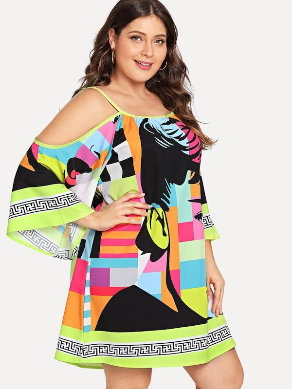 Plus Size Cold Shoulder Figure Print Dress