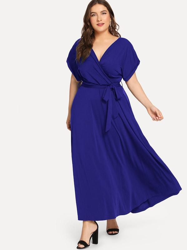 Plus Size Cuffed Sleeve Belted Dress