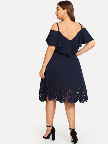 Plus Size Cut Out Ruffle Cami Dress