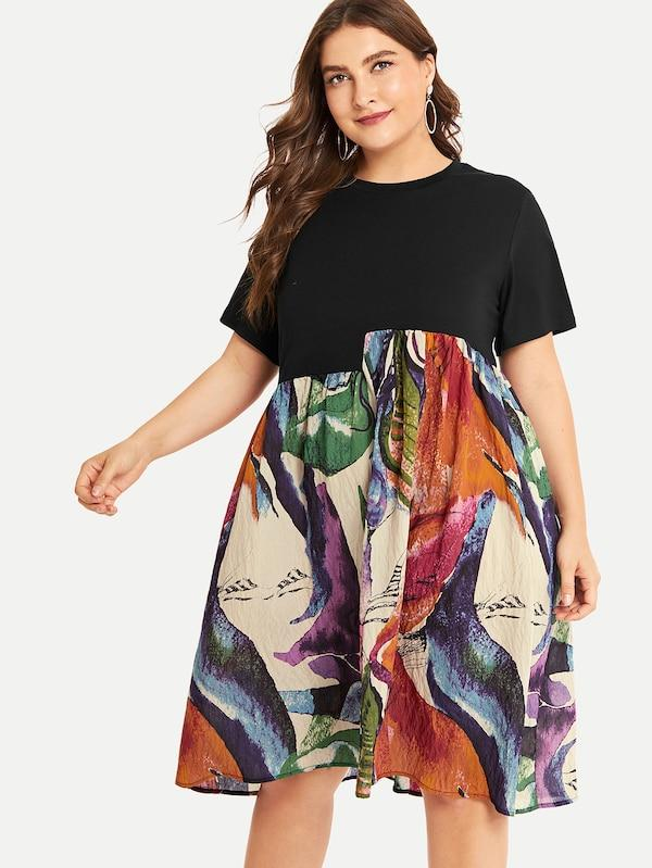 Plus Size Random Print Dress