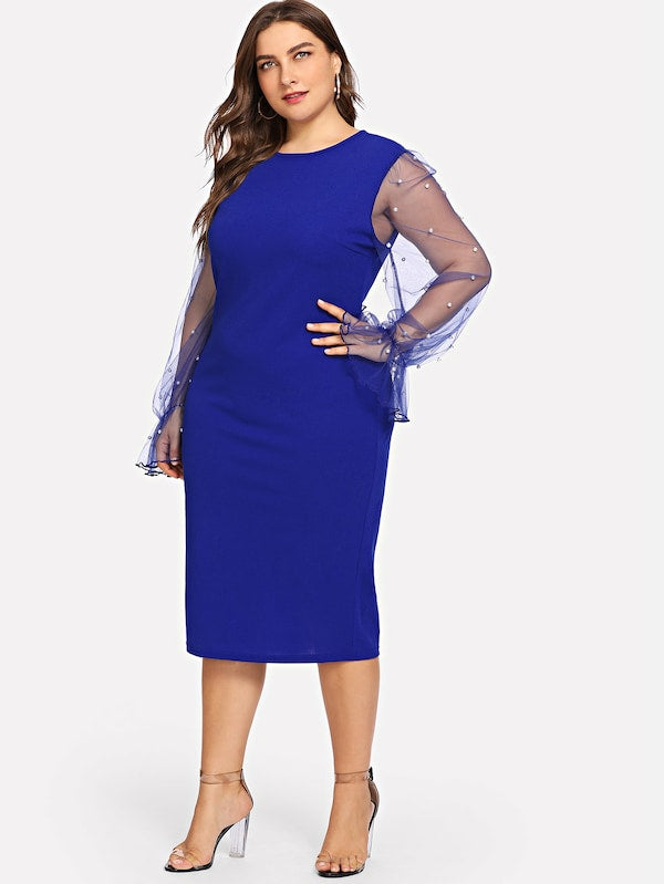Plus Size Pearl Beading Mesh Sleeve Pencil Dress
