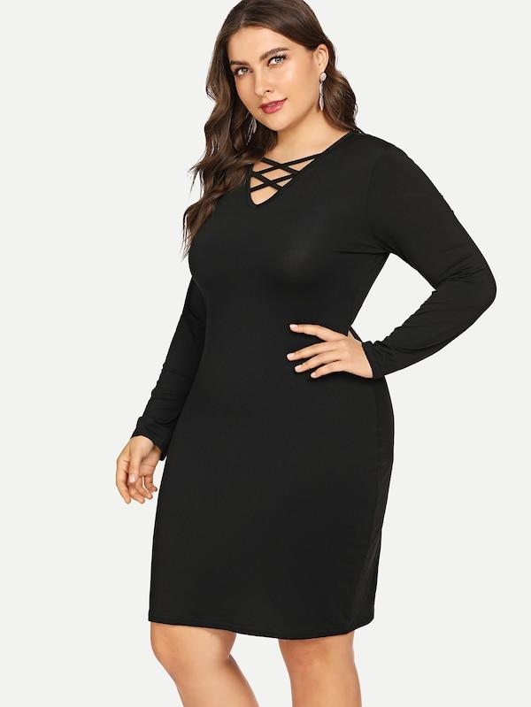 Criss Cross Front Solid Dress