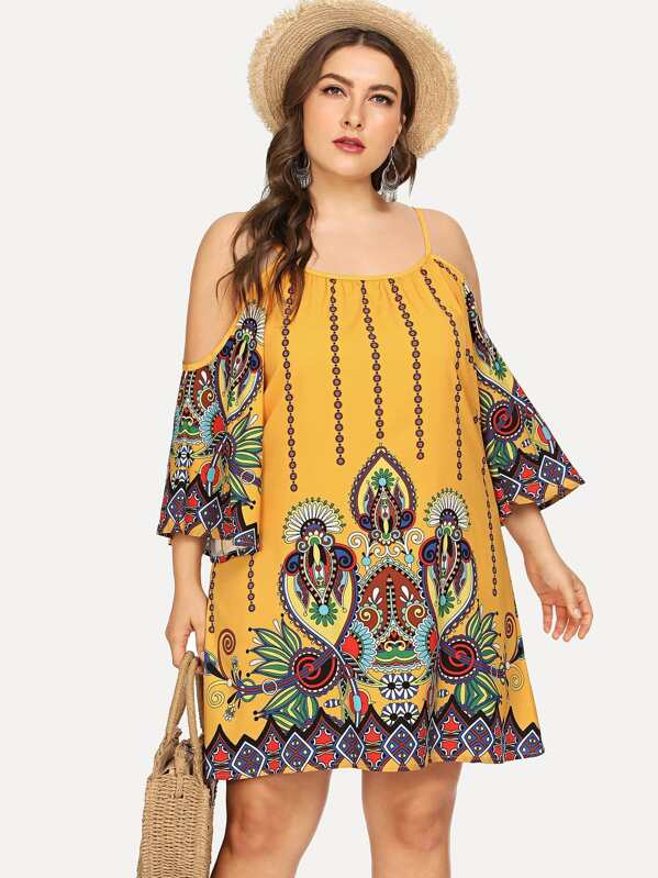 Plus Size Geo Print Kimono Sleeve Cold Shoulder Dress