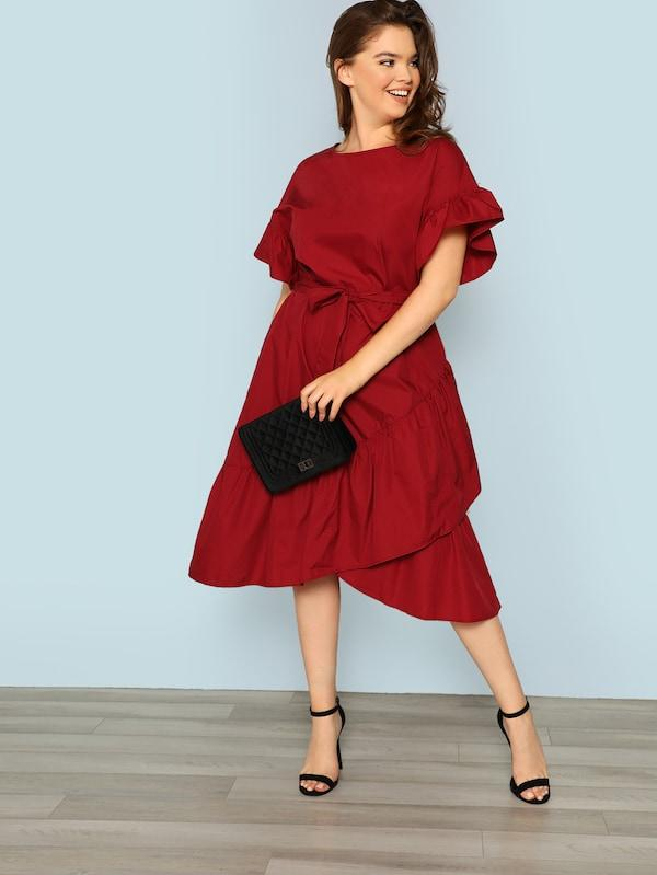 Plus Cutout Sleeve Ruffle Wrap Dress With Belt