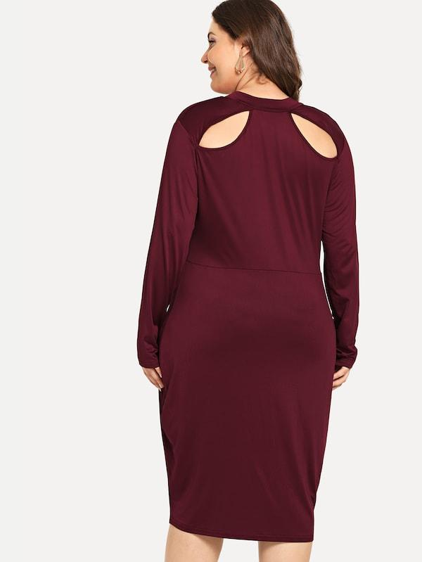 Plus Size Cut Out Solid Dress