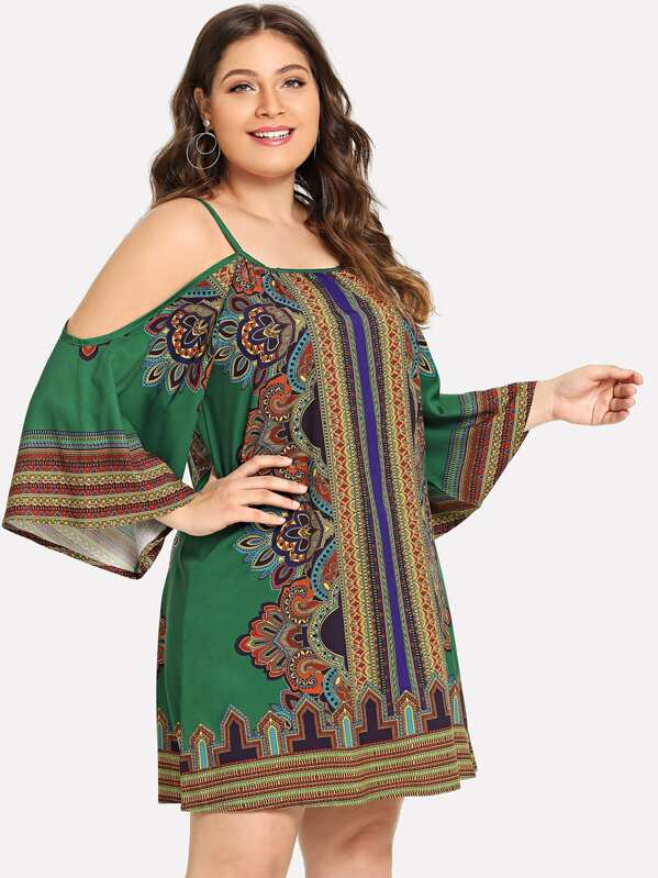 Plus Size Cold Shoulder Tribal Print Dress