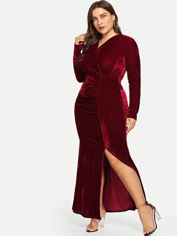 Plus Size Split Hem Velvet Dress