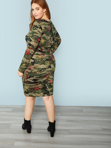 Plus Size Camo Print Pencil Dress