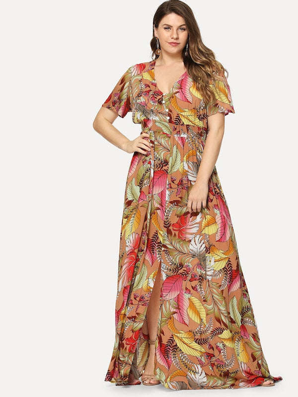 Plus Size Button Front Tropical Print V-Neck Dress