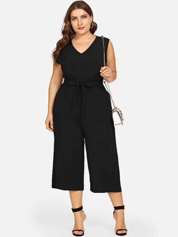 Plus Size Waist Belted Solid Jumpsuit