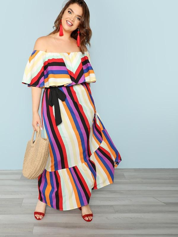 Plus Size Flounce Layered Neck Striped Dress