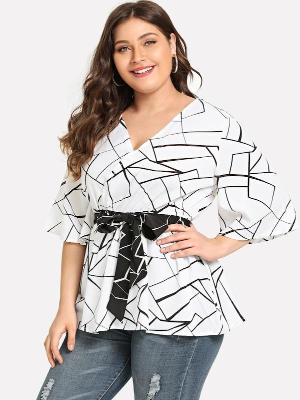 Plus Size Surplice Front Blouse