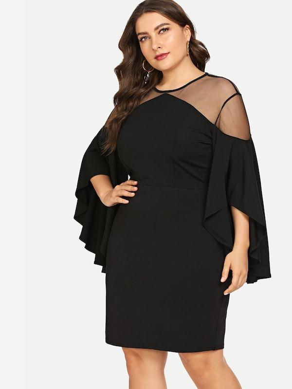 Plus Size Contrast Mesh Solid Dress
