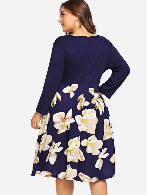 Plus Size Floral Print Dress