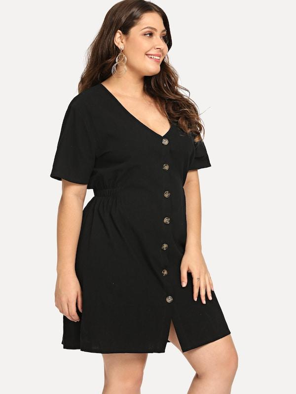 Plus Size Single-Breasted Solid Dress