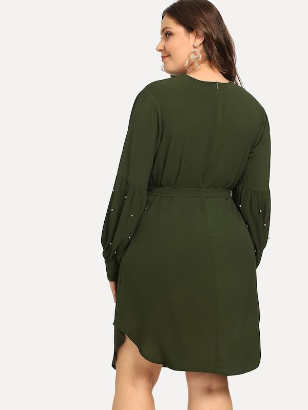 Plus Size Beaded Solid Dress