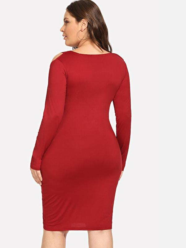 Plus Size Cold Shoulder Solid Dress