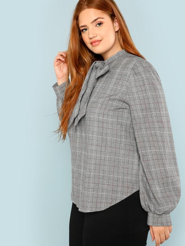 Plus Size Bow Tie Neck Curved Hem Plaid Blouse