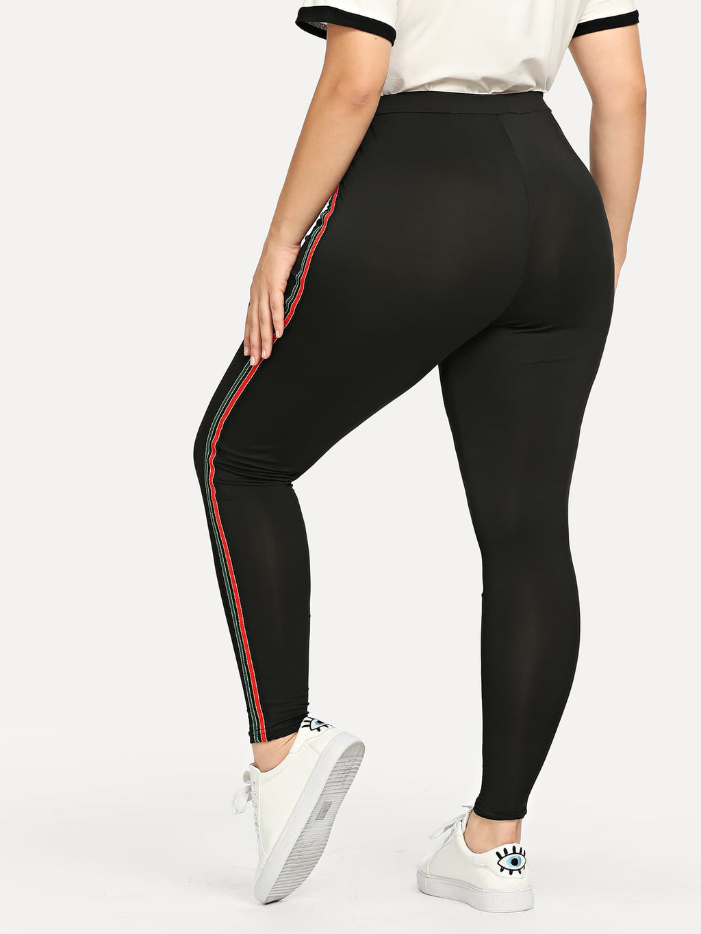 Plus Size Contrast Taped Side Leggings