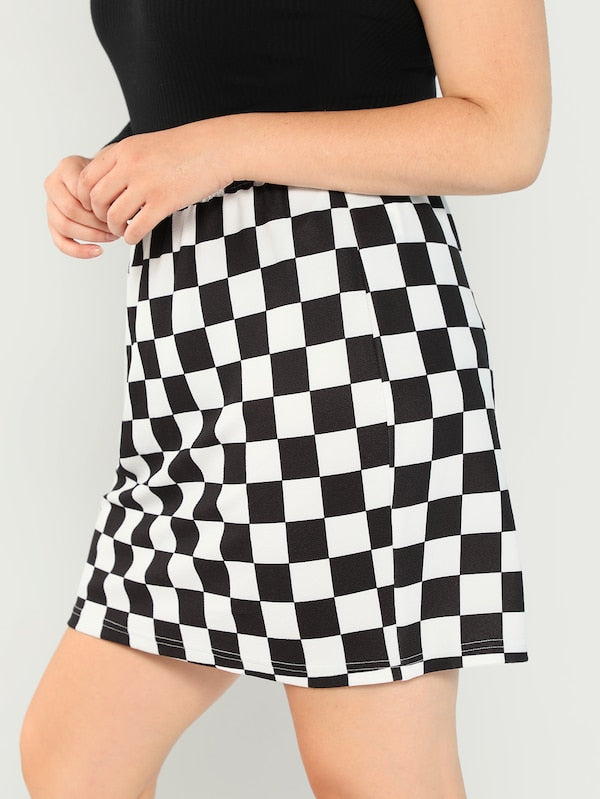 Plus Size Elastic Waist Checked Skirt