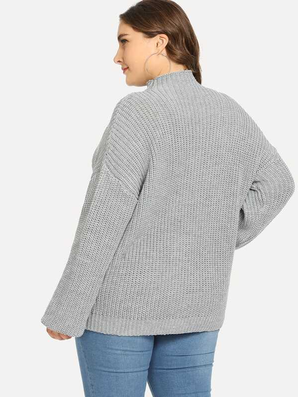 Plus Size Mock Neck Eyelet Sweater