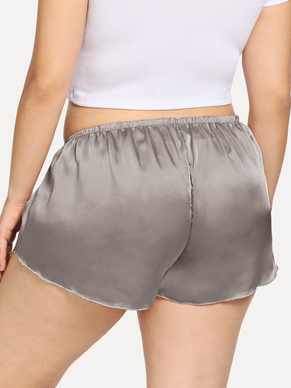 Plus Size Dolphin Hem Sleep Shorts