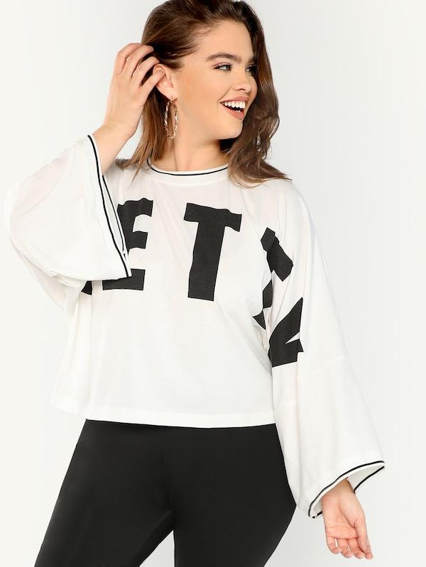 Plus Size Drop Shoulder Bell Sleeve Letter Tee