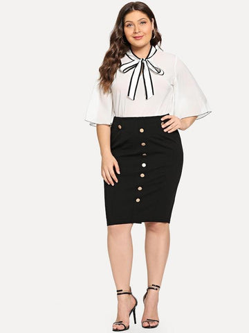 Plus Size Contrast Trim Knot Detail Blouse
