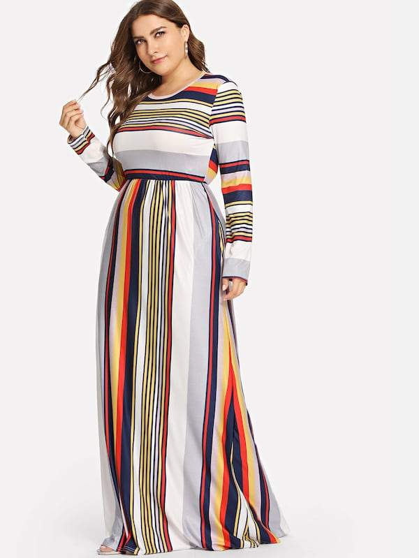 Plus Size Colorful Striped Dress
