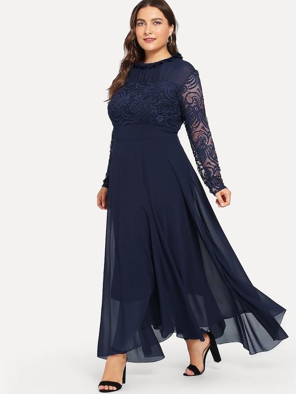 Plus Size Guipure Lace Panel Frill Trim Dress