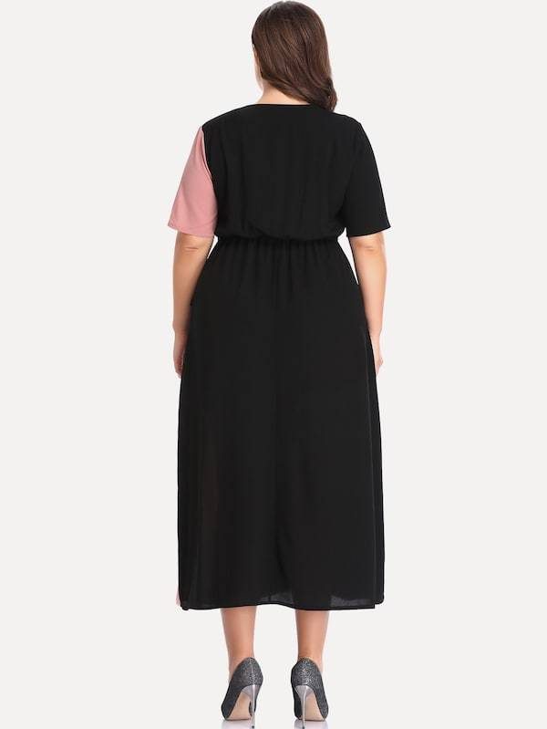 Plus Knot Side Colorblock Dress