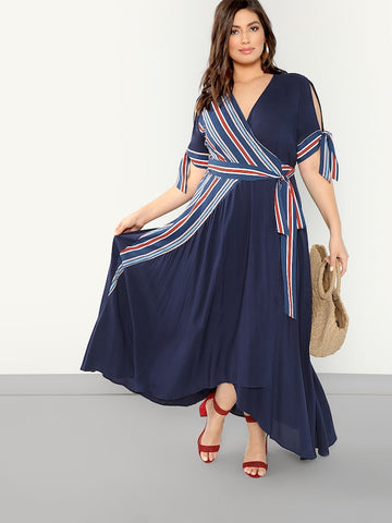 Plus Size Knot Cuff Surplice Wrap Striped Asymmetrical Dress
