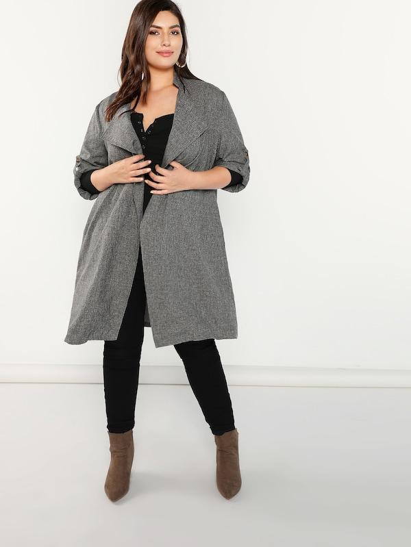 Plus Size Waterfall Collar Roll Tab Sleeve Coat