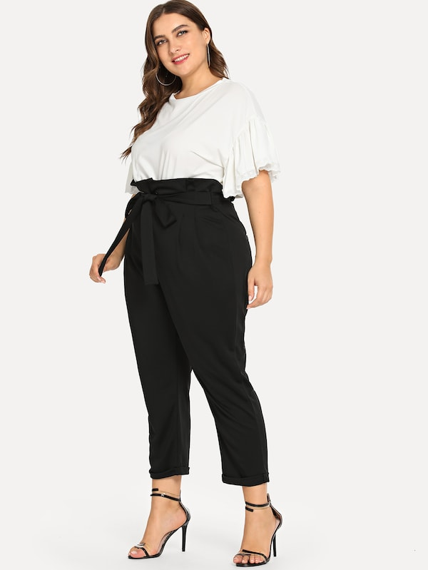 Plus Size Self Tie Waist Pant