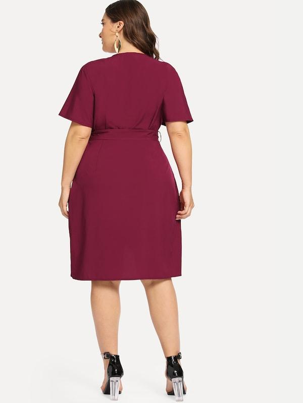 Plus Size Curved Hem Surplice Wrap Dress
