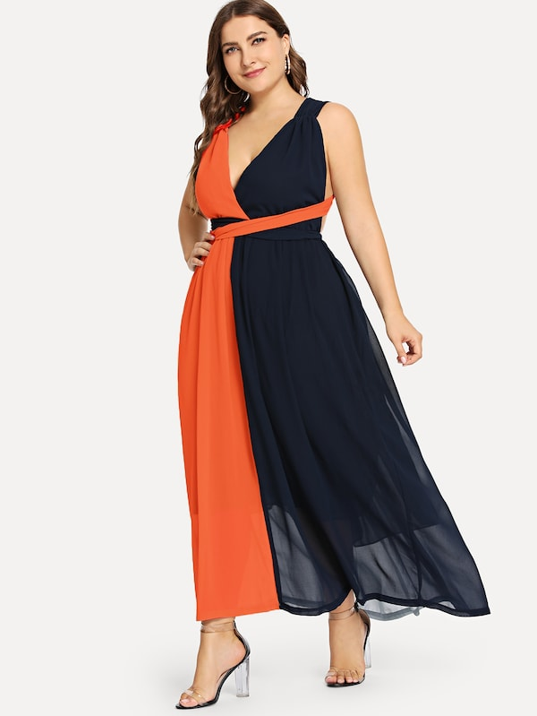 Plus Size Criss Cross Color Block Shell Dress