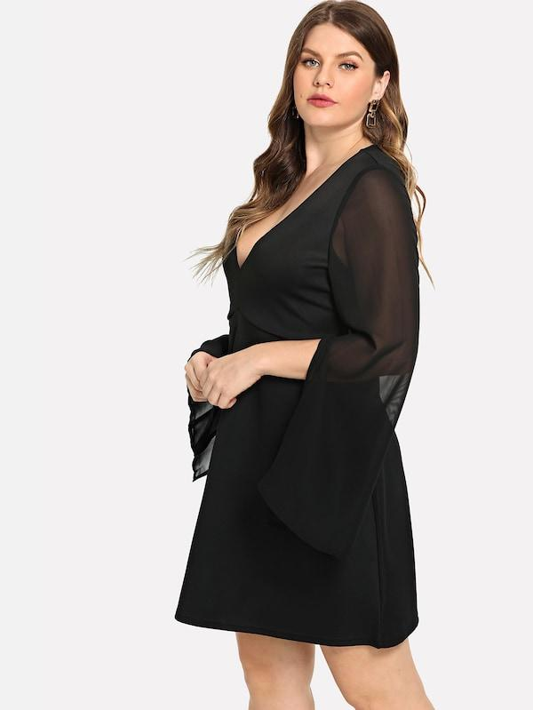 Plus Size Split Mesh Sleeve Dress
