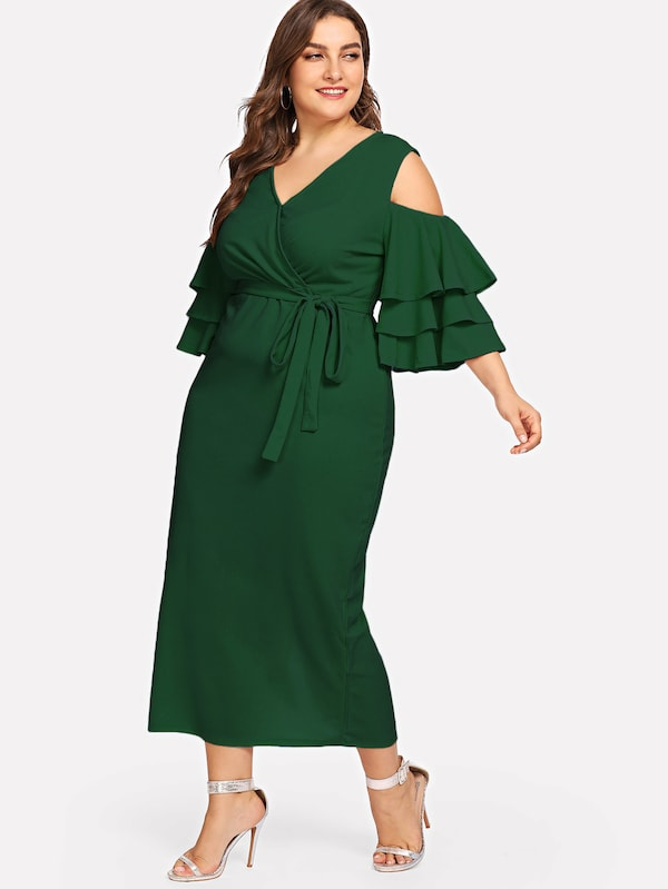 Plus Size Open Shoulder Layered Flounce Sleeve Wrap Dress