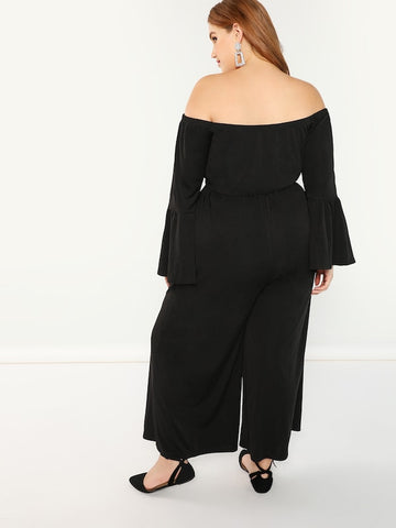 Plus Size Off Shoulder Bell Sleeve Solid Jumpsuit