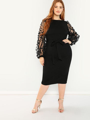 Plus Size 3D Applique Mesh Bishop Sleeve Pencil Dress
