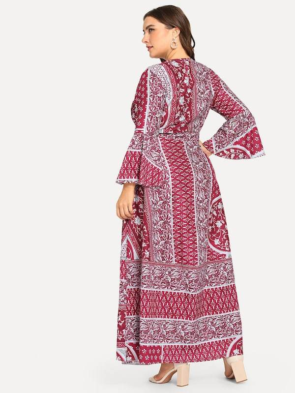 Plus Size All Over Printed Dress