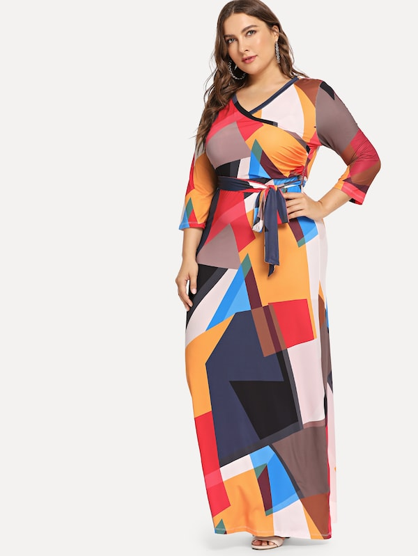 Plus Size Belted Geo Print Dress