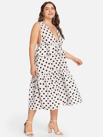Plus Size Ruffle Detail Polka Dot Shell Dress