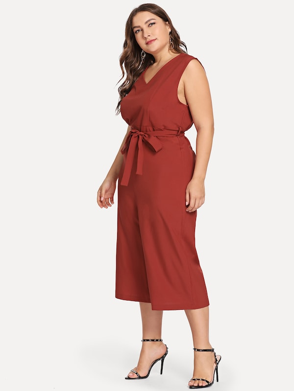 Plus Size Sleeveless Solid Jumpsuit