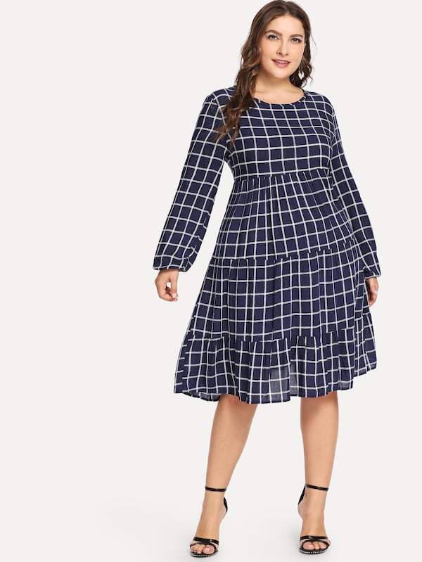 Plus Ruffle Hem Plaid Dress