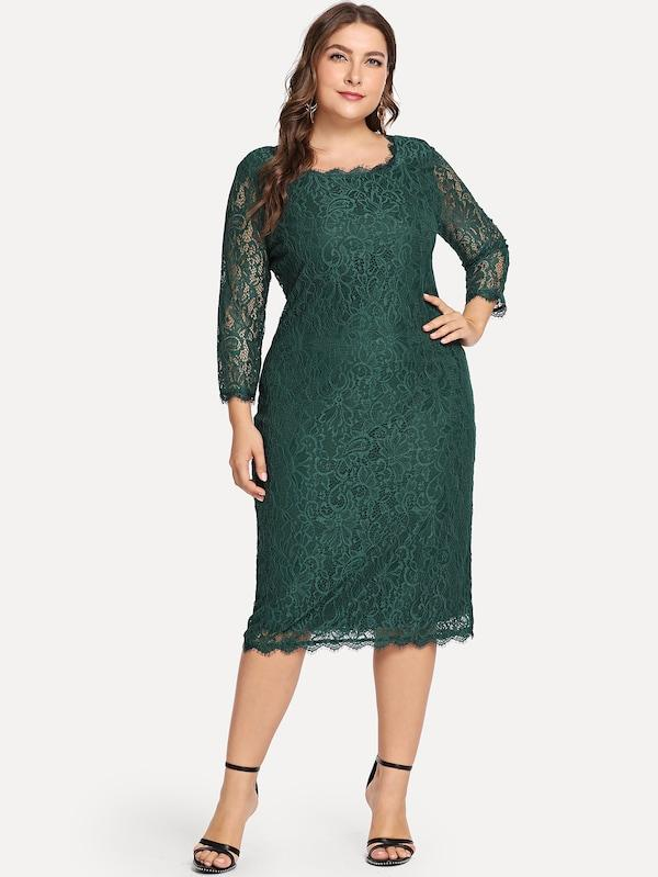 Plus Size Solid Lace Dress